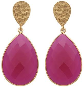 Carousel Jewels - Double Drop Fuchsia Chalcedony & Gold Nugget Earrings