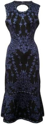 Herve Leger printed sleeveless fishtail dress