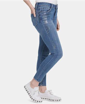 DKNY Sequin-Embellished Skinny Jeans