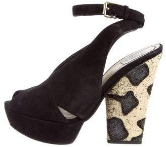 Christian Dior Stingray-Trimmed Platform Sandals