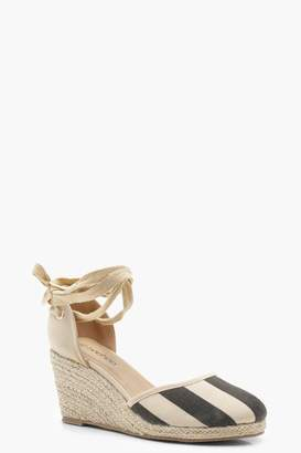 boohoo Wide Fit Stripe Tie Up Espadrille Wedges
