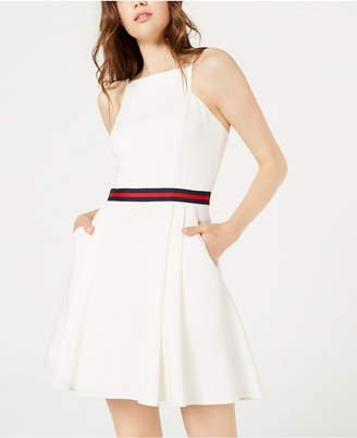 Teeze Me Juniors' Grosgrain Ribbon Fit & Flare Dress