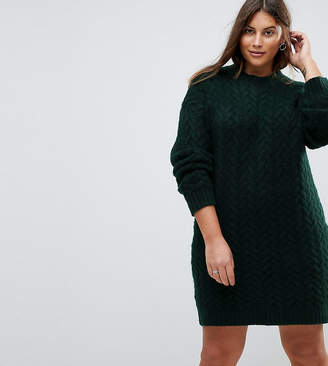 Asos Oversized Knitted Dress With Cable Detail