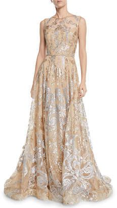 Roland Nivelais Sleeveless Sequined Illusion Gown