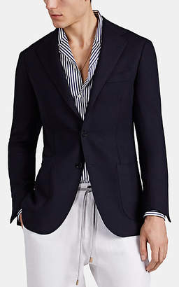 Ring Jacket Men's Basket-Weave Wool Two-Button Sportcoat - Blue