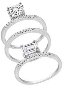Lord & Taylor Rhodium-plated Sterling Silver and Cubic Zirconia Round and Square Stackable 3-Piece Ring Set