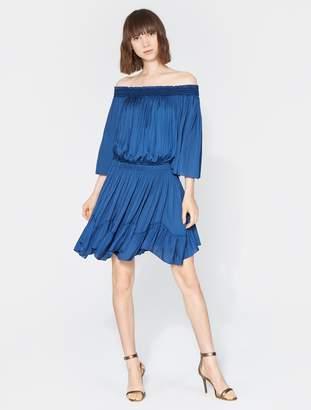 Halston Off Shoulder Smocked Dress