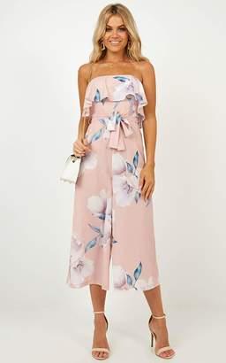 Showpo Loco Motion Jumpsuit In Blush Floral Playsuits & Jumpsuits