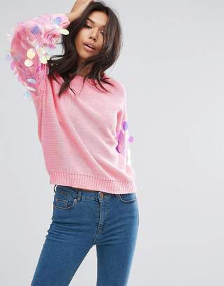 PrettyLittleThing Sequin Sleeve Sweater