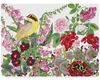 Trademark Art 'Warbler with Frog' Watercolor Painting Print on Wrapped Canvas