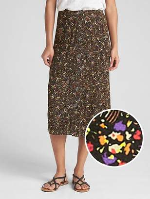 Gap Button Floral Print Midi Skirt