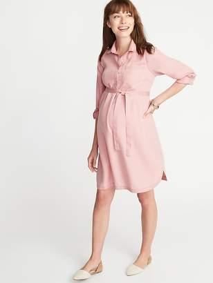 Old Navy Maternity Tencel® Tie-Belt Shirt Dress