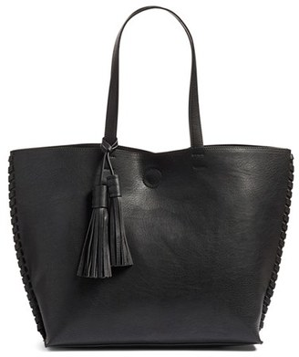 Phase 3 Whipstitch Tassel Faux Leather Tote - Black $75 thestylecure.com