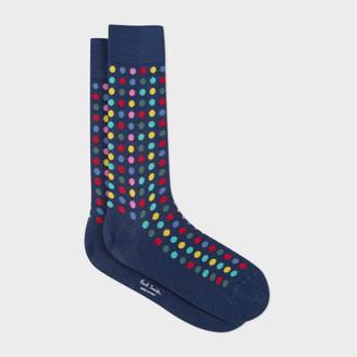 Men's Navy Confetti Spot Socks $30 thestylecure.com
