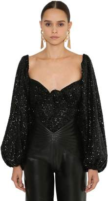 ATTICO Sequined Heart Neckline Top