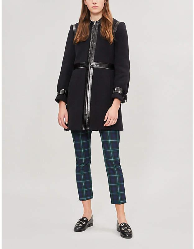 Gabia faux-leather trimmed wool-blend coat