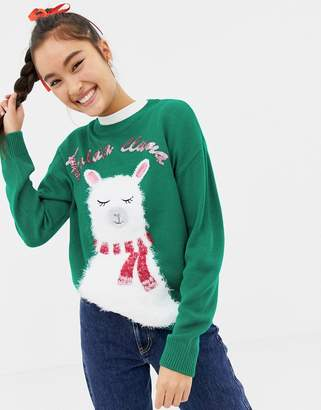 New Look christmas sweater with llama print in green