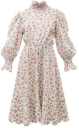 Horror Vacui Collia Floral Print Cotton Midi Dress - Womens - White Multi