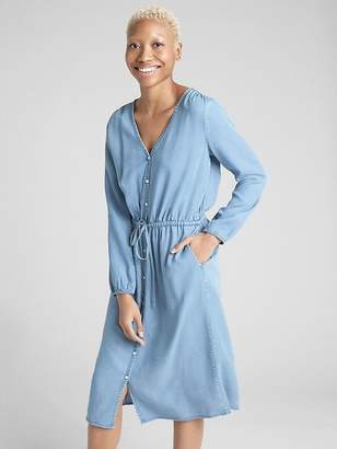 Gap Long Sleeve Button-Down Midi Dress in TENCEL