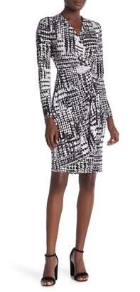 Modern American Designer Patterned Long Sleeve Mock Wrap Dress