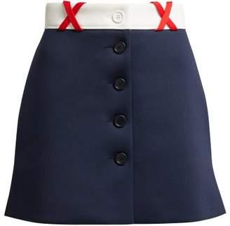Miu Miu Jersey Mini Skirt - Womens - Navy Multi