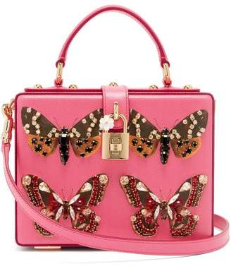 Dolce & Gabbana Crystal And Butterfly Print Leather Box Bag - Womens - Pink Multi