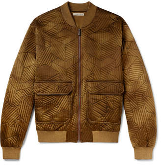 Bottega Veneta Embroidered Washed-Silk Bomber Jacket - Men - Mustard