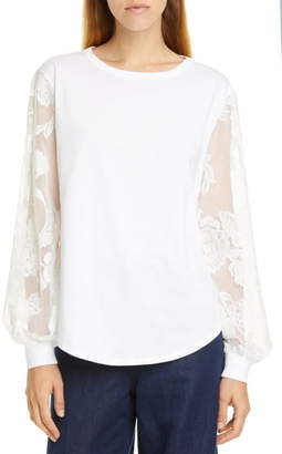 See by Chloe Floral Sleeve Cotton Top