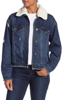 Tractr Faux Shearling Collar Denim Jacket