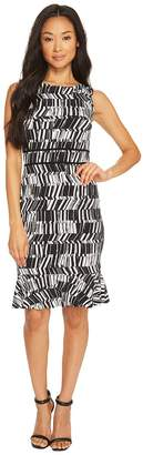 Taylor Sleeveless Printed Jersey Dress with Flounce Women's Dress