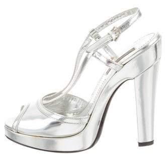 Burberry Metallic Platform Sandals