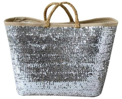 3R Studios Seagrass Woven Basket With Sequins
