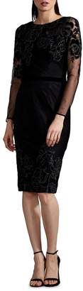 David Meister Embroidered Long-Sleeve Cocktail Dress