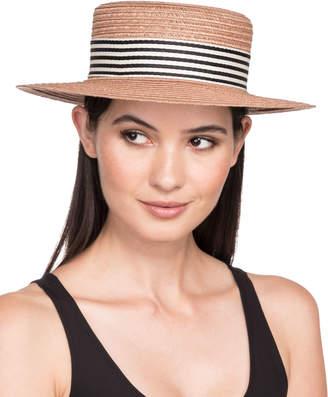 Eugenia Kim Brigitte Vented Hemp Boater Hat w/ Striped Hat Band