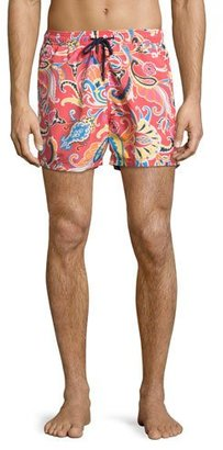 Etro Large Paisley Swim Trunks, Red $285 thestylecure.com