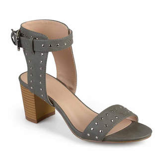 Journee Collection Womens Mabel Pumps Buckle Open Toe Stacked Heel