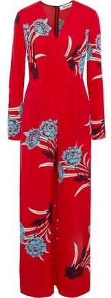 Floral-Print Crepe Jumpsuit