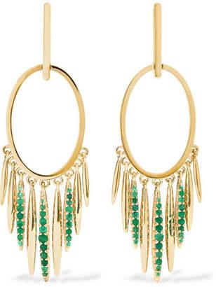 Ileana Makri Grass Sunset 18-karat Gold Emerald Earrings - one size