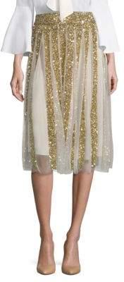 Alice + Olivia Samira Embroidered Midi Skirt