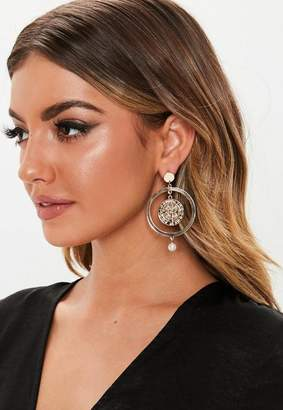 Missguided Gold Look Coin Pearl Drop Earrings
