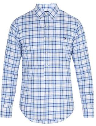 Polo Ralph Lauren Oxford Checked Cotton Pique Shirt - Mens - Blue White