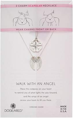 Dogeared Walk with and Angel, Two Charm Compass and Angel Wing Scapular Necklace Necklace