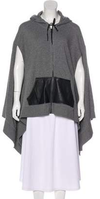 Alexander Wang Leather-Accented Hooded Cape