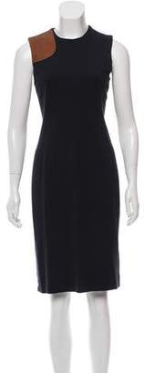Ralph Lauren Black Label Leather-Trimmed Sleeveless Dress