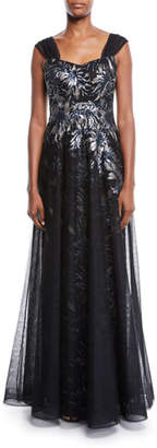 Rickie Freeman For Teri Jon Sleeveless Sequin Tulle Overlay A-Line Evening Gown