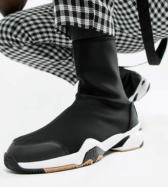 Asos DESIGN Wide Fit sock boot sneakers in black neoprene with chunky sole