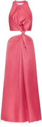 Marina Moscone Mia Twist-Front Wool-Blend Midi Dress