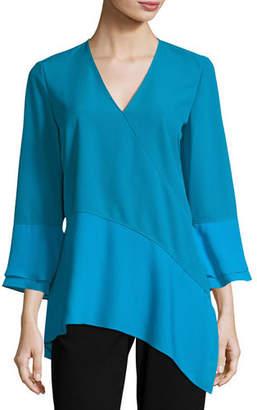 Elie Tahari Reeva Long-Sleeve Seamed Knit Blouse