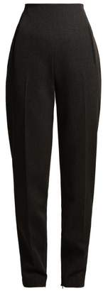 The Row Cat High Rise Stretch Wool Trousers - Womens - Dark Grey