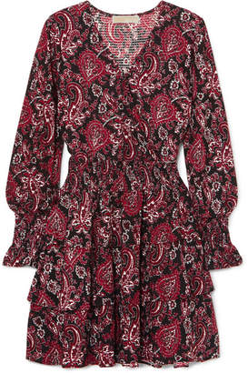 MICHAEL Michael Kors Tiered Printed Crepe Dress - x large